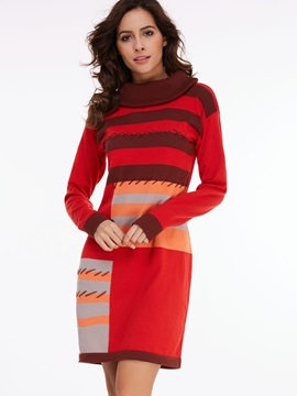Contrast Color Turtleneck Vertical Striped Sweater Dress