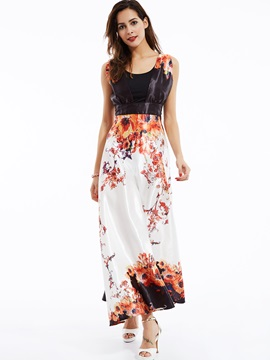 Round Neck Sleeveless Floral Print Maxi Dress