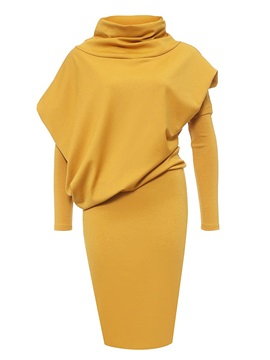 Plain Turtleneck Pullover Women's Bodycon Dress
