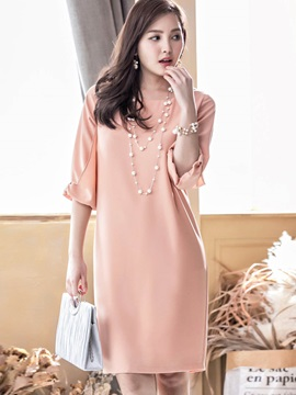 Solid Color Puff Sleeve Short Day Dress