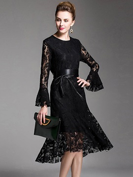 Solid Color Flare Sleeve Lace Dress