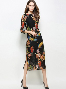 Floral Imprint Long Sleeve Long Day Dress