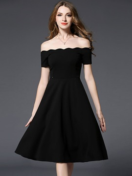 Black Boat Neck Skater Dress