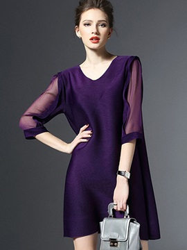 Multi-colored Long Sleeve Short Day Dress