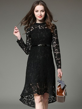 Simple Solid Color Long Sleeve Lace Dress