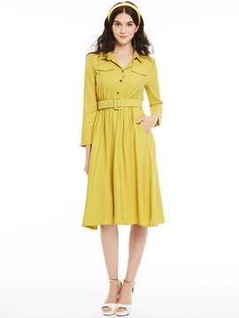 Lapel Single-Breasted Plain Day Dress