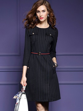 Vertical Stripes Long Sleeve Bodycon Dress
