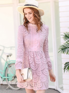 Pink Long Sleeve Lace Skater Dress