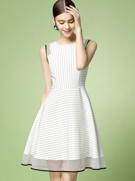 Chic Stripe Sleeveless Skater Dress