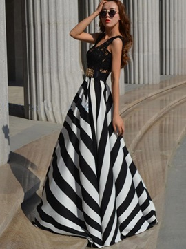 Vertical Stripes Sleeveless Maxi Dress