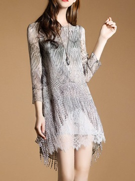 Fashion Floral Imprint Long Sleeve Short Day Dress