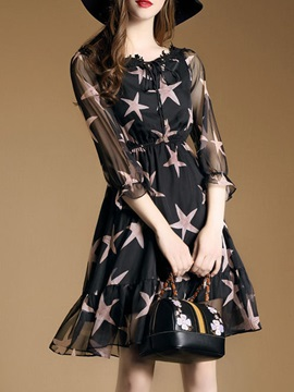 Floral Imprint Long Sleeve Skater Dress