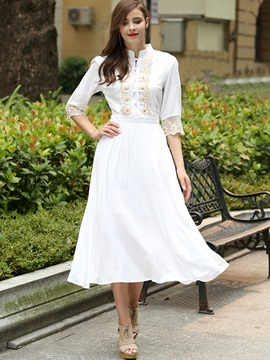 White Half Sleeve  Dress