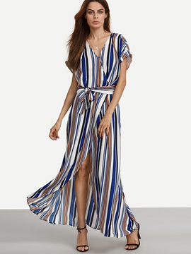 Vertical Stripes Short Sleeve  Dress