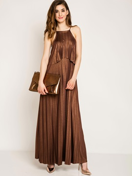 Simple Pure Color Sleeveless Maxi Dress