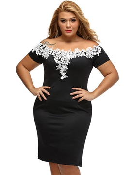 Boat Neck Short Sleeve Plus Size Bodycon Dress