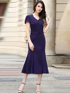 Vogue Solid Color Short Sleeve  Dress