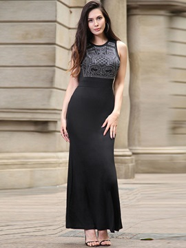 Elegant Solid Color Sleeveless Maxi Dress