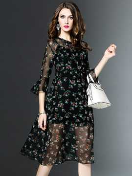 Vogue Floral Imprint Half Sleeve Maxi Dress