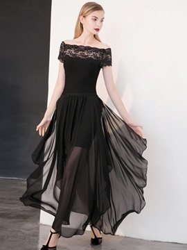 Black Boat Neck Chiffon Maxi Dress
