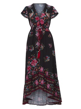 Floral Imprint Short Sleeve Maxi Dress