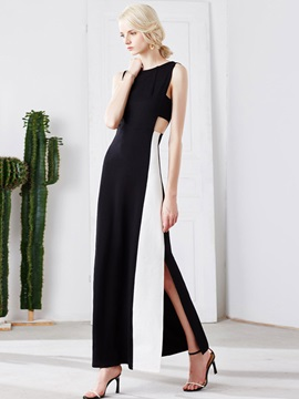 Vogue Round Neck Sleeveless Maxi Dress