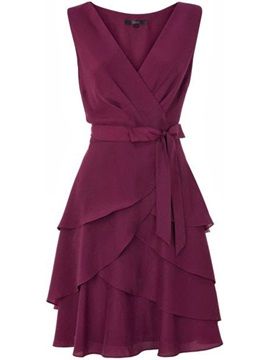 Burgundy Sleeveless Skater Dress