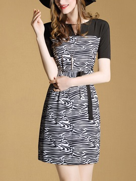 Short Sleeve Zebra Printed Bodycon Dress