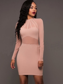 Vogue Pure Color Long Sleeve Bodycon Dress