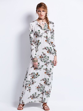 Round Neck Flower Print Zipper  Dress
