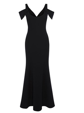 Black V Neck Open Shoulder Sleeve Maxi Dress