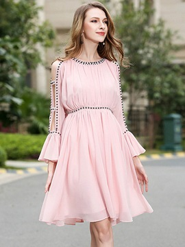 Solid Color Long Sleeve Chiffon Skater Dress