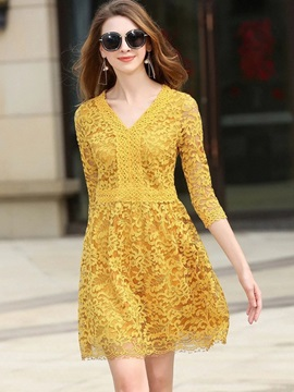 Yellow Long Sleeve Lace Dress