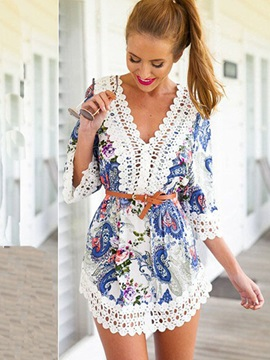 Half Sleeves Lace Patchwork Women's Day Dress