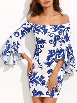 Print Off Shoulder Women's Day Dress