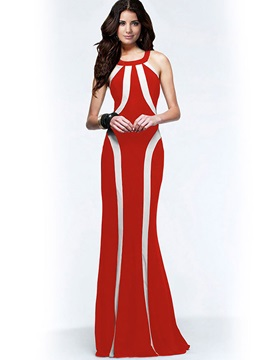 Fashion Vertical Stripes Sleeveless Maxi Dress