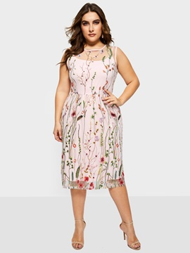 Sleeveless Round Neck Plus Size Women's A-Line Dress