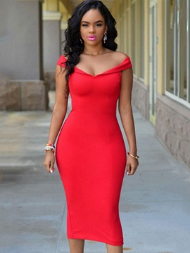 Chic Red Short Sleeve Bodycon Dress