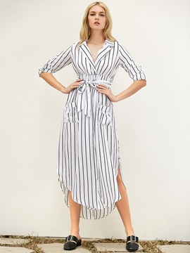 Vertical Stripes Long Sleeve Maxi Dress
