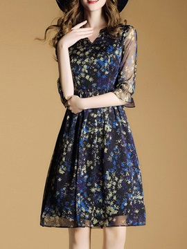 Hot Floral Imprint Chiffon Skater Dress