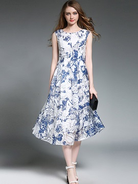 Hot Floral Imprint Sleeveless  Dress