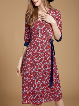 Floral Imprint Long Sleeve Short Day Dress