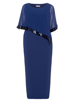 Blue Short Sleeve Plus Size Maxi Dress