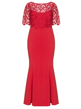 Red Lace Patchwork Half Sleeve Plus Size Women's Maxi Dress