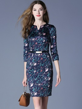 Long Sleeve Floral Imprint Bodycon Dress