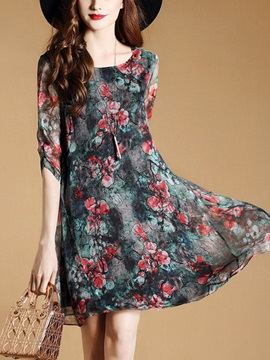 Round Neck Floral-printing Half-sleeve Chiffon Skater Dress