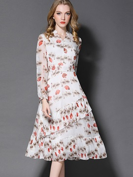 Nice Floral Imprint Chiffon Skater Dress