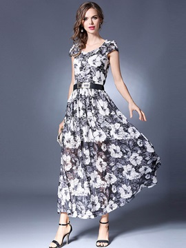 Chic Round Neck Floral Imprint Maxi Dress