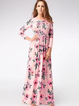 Long Sleeve Floral Imprint Maxi Dress