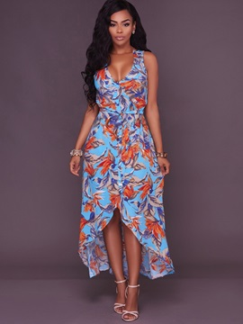 Hot Floral Imprint V Neck  Dress